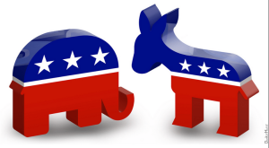 3D depiction of an elephant and donkey signifying the Democrat and Republican parties.