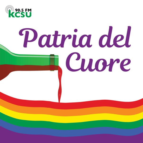 A bottle of red wine is being poured symbolically into a rainbow pride flag